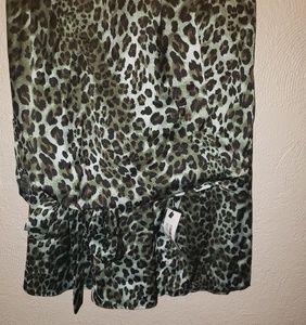Satin Green Leopard Wrap Midaxi Skirt